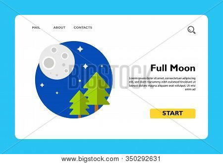 Illustration Of Full Moon And Fir Trees. Night, Stars, Scenery, Nature. Night Concept. Can Be Used F