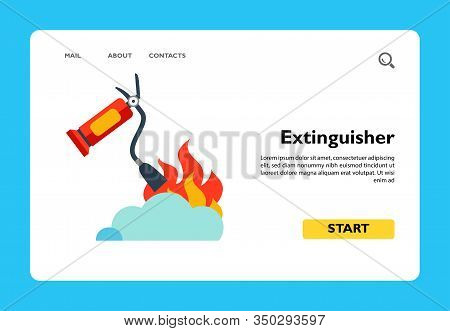 Vector Icon Of Fire Extinguisher Putting Out Flame. Conflagration, Fire Safety. Protection Concept.