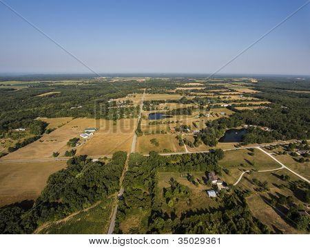 Aerial view of rural mid west missouri