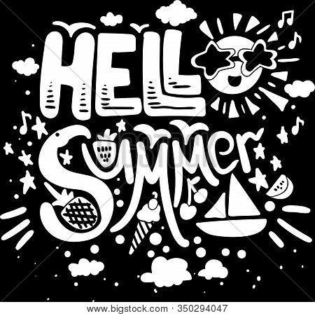 Poster Hot Hell Summer Original Hand Drawn Quote