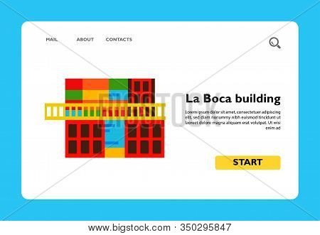 Icon Of Colorful Building In La Boca, Argentina. Famous Place, Buenos Aires, Argentina Landmarks. Ar