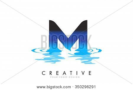 M Letter Logo Design With Water Effect And Deep Blue Gradient Vector Illustration. Template M - Bran