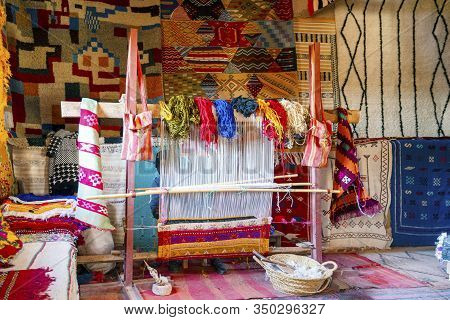 Traditional Weaving Machine Used To Produce Famous Berber Carpets, Morocco