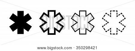 Emergency Star Vector Icons Isolated. Ambulance Emergency Concept. Emergency Staff Signs Symbols. Ep