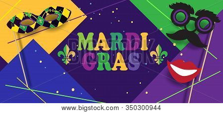 Happy Holiday Mardi Gras Carnival abstract modern pop art banner background invitation card New Orleans carnival, Rio brazilian carnival, music dance festival vector template