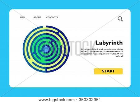 Vector Icon Of Top View Of Labyrinth Of Consciousness. Conscious Mind, Puzzle, Solution. Psychoanaly