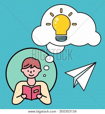 Boy In Circle Reading Textbook. Young Man Thinking About About Content Of Book. Cloud Or Bubble With