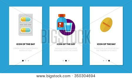 Remedies Flat Icon Set. Capsule, Syrup, Blister, Drug Isolated Sign Pack. Treatment, Pharmacy, Antib