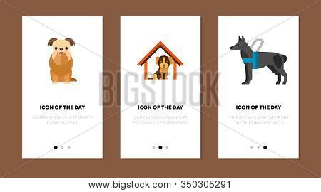 Lovely Dog Thin Flat Icon Set. Friend, Help, Barking Isolated Vector Sign Pack. Pets And Animals Con