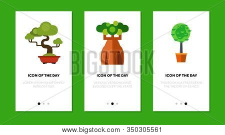 Trees Flat Icon Set. Sequoia, Baobab, Houseplant Isolated Sign Pack. Africa, Savanna, Nature Concept