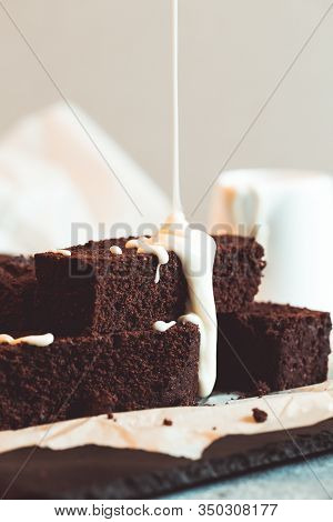 Homemade Dark Chocolate Fudge Brownies Cake. Chocolate Brownie With Melted White Chocolate Fudge