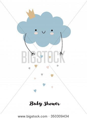 Lovely Baby Shower Vector Illustration. Blue Smiling Cloud With Dropping Hearts Isolated On A White