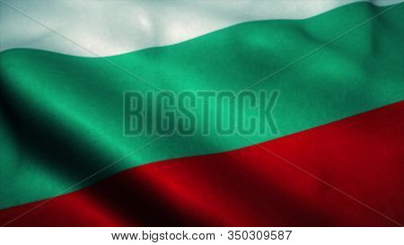 Bulgaria Flag Waving In The Wind. National Flag Of Bulgaria. Sign Of Bulgaria. 3d Illustration.