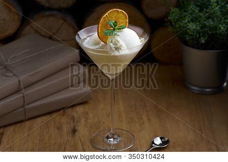 Italian Traditional Lemon Sorbet, Selective Focus, Close Up