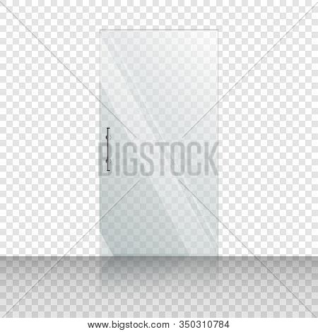 Transparent Glass Door Isolated On Transparent Background. Store Glass Mock Up Door. Entrance Clear