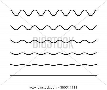 Zigzag Seamless Wave Lines Set. Wavy Wiggly Black Horizontal Line With Edge. Frame Underlines Stroke