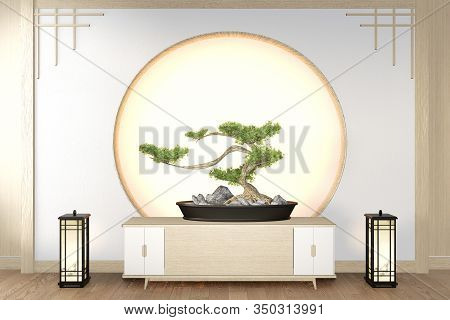 Bonsai Tree On Cabinet Wooden On Wall Room Zen Style And Decoraion Wooden Design, Earth Tone.3D Rend