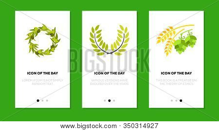 Plant Branches Flat Icon Set. Olive, Laurel Wreathes, Wheat Ear, Hop Isolated Sign Pack. Decoration,