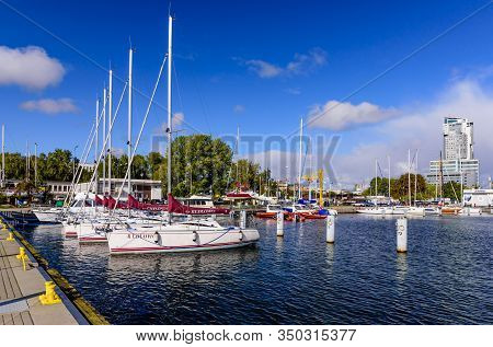 Gdynia, Poland - October 6, 2019: Marina At Baltic Sea With Yachts In Gdynia, Poland. Gdynia Is An I