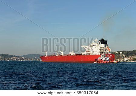 Istanbul,turkey - November 3, 2019:sti Elysees Oil Tanker In The Bosphorus Strait