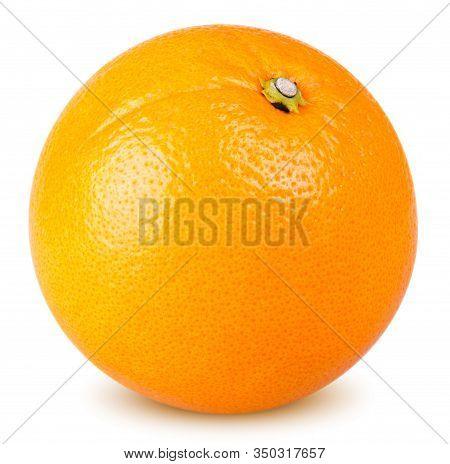 Isolated Orange Fruit. One Whole Orange Fruit Isolated On White Background With Clipping Path