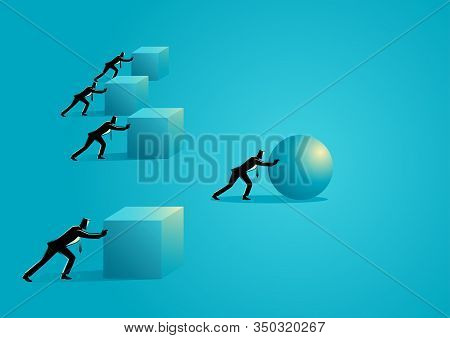 Business Concept Illustration Of A Businessman Pushing A Sphere Leading The Race Against A Group Of