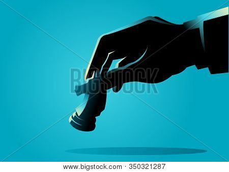 Business Concept Illustration Of A Businessman Hand Holding Chess Knight Piece, Strategy, Strategic
