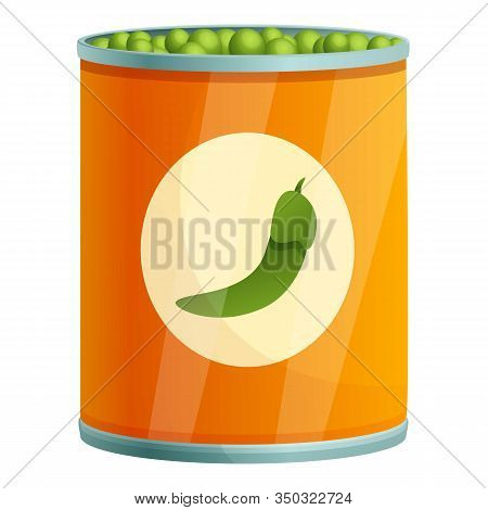 Peas Tin Can Icon. Cartoon Of Peas Tin Can Vector Icon For Web Design Isolated On White Background