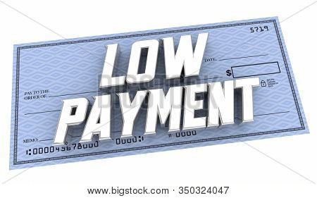 Low Payment Affordable Check Money Amount Due Words 3d Animation