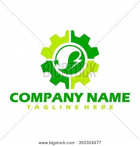 Green Power Energy Logo Design Element, Thunder Leaf Logo, Leaves Icon Vector, Creative Green Leaf L