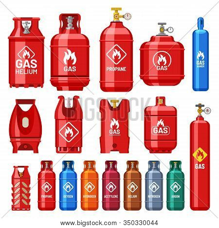 Gas Cylinder Containers Of Different Types And Colors With Pressure Or Volume Measure Gauges. Indust