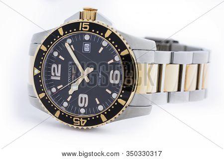 Saint-imier, Switzerland, 2.02.2020 - Longines Luxury Watch With Black Watch Face Gold Metal Bracele