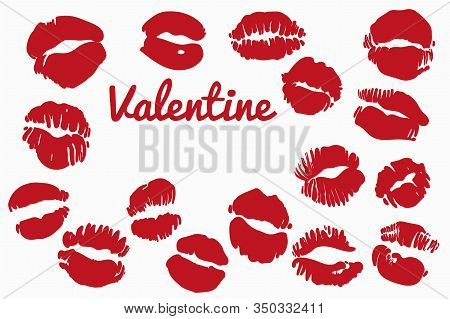 Set With Imprint Of Red Lips With The Inscription Valentine. Lipstick Red Stamp On A White Backgroun