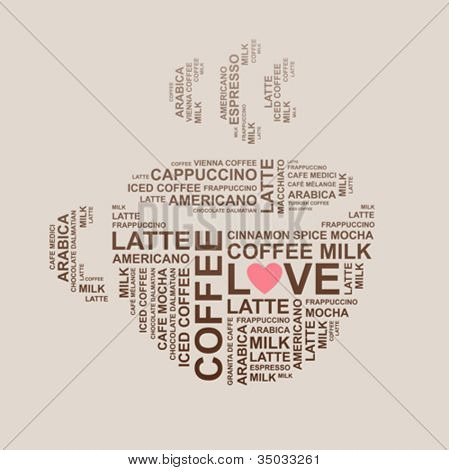 coffee cup from letters - typographic composition - vector