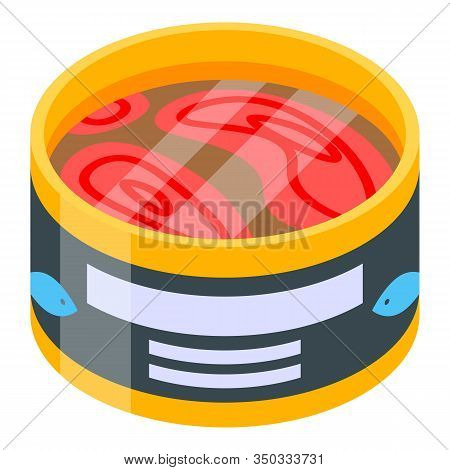 Open Tuna Tin Icon. Isometric Of Open Tuna Tin Vector Icon For Web Design Isolated On White Backgrou