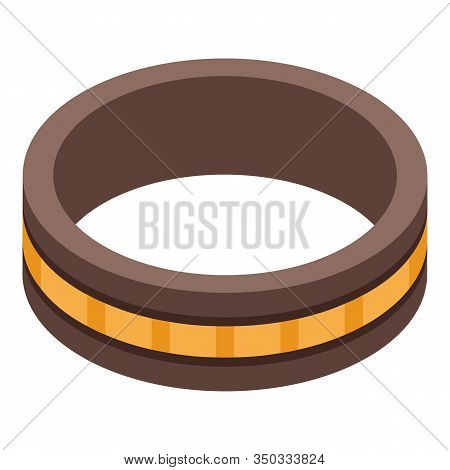 Jewellery Brown Ring Icon. Isometric Of Jewellery Brown Ring Vector Icon For Web Design Isolated On