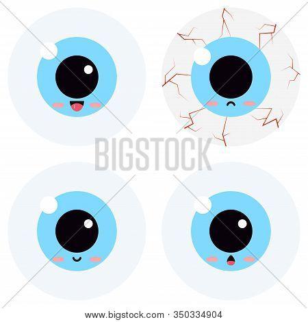 Cute Eyeball Emoticon Vector Set Isolated On White Background. Flat Design Kawaii Cartoon Style Illu