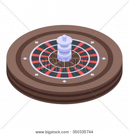 Casino Roulette Icon. Isometric Of Casino Roulette Vector Icon For Web Design Isolated On White Back
