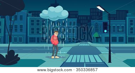 Depressed Man Stand Under Cloud With Falling Rain On Empty Night City Street Near Crossroad With Dar