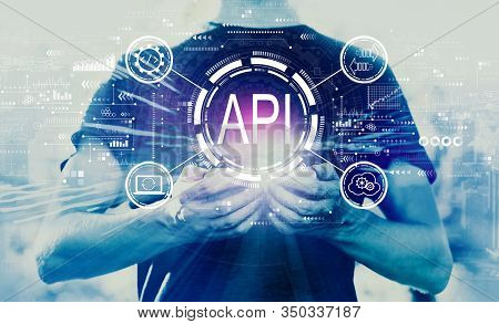 Api - Application Programming Interface Concept Api Concept With Young Man Using His Smartphone