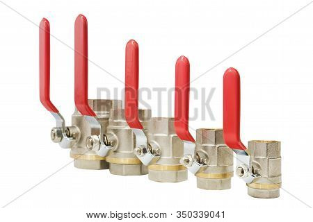Ball Valves, Steel (sphere) Valve Or Nickel Plated Brass Ball Valve  Isolated On White Background.