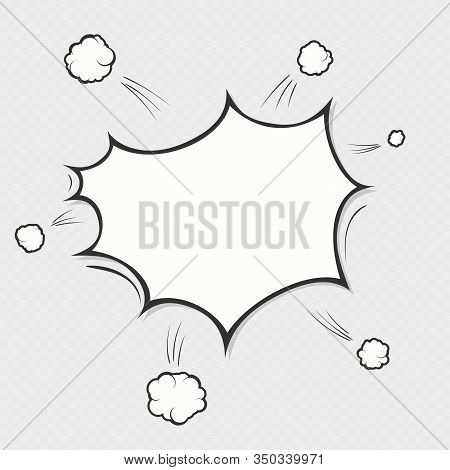 Comic Book Explosion Boom On Transparent Background. Cartoon Speech Bubble Cloud Symbol. Pop Art Obj