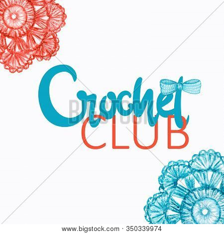 Red End Blue Crochet Club Logotype, Branding, Avatar Composition Of Crocheted Bow, Flowers. Illustra