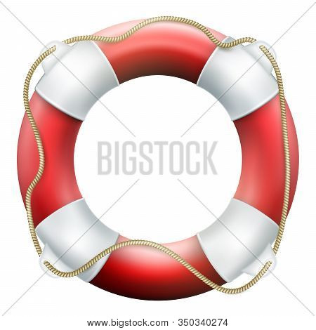 Red Life Buoy With Rope. Isolated On White Background. Rescue Circle For Quick Help. Eps 10