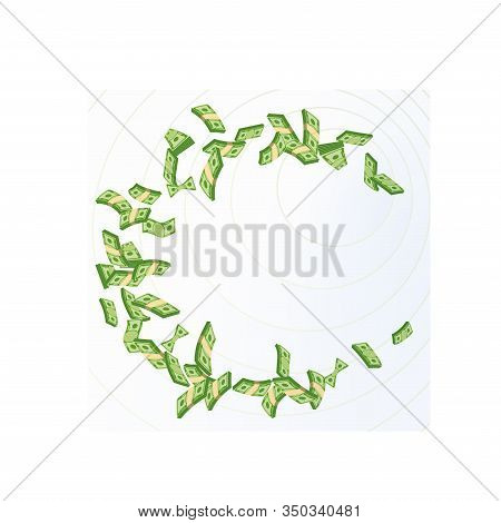 Cash Flow. Banknotes Fly Away. Bankruptcy And The Collapse Of The Monetary System. Flat Vector Carto