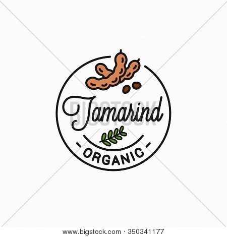 Tamarind Fruit Logo. Round Linear On White