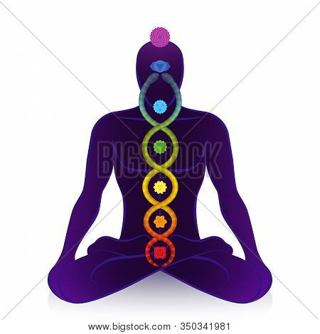 Kundalini Serpent And Chakras Of A Meditating Man, Symbol For Spiritual Awakening, Healing Power And