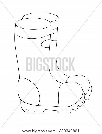 Boots. Garden Rubber Boots With Non-slip Soles - A Linear Vector Illustration For Coloring. Outline.