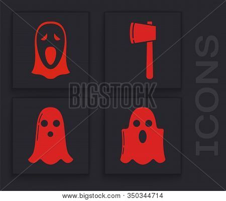 Set Ghost , Funny And Scary Ghost Mask For Halloween , Wooden Axe And Ghost Icon. Vector