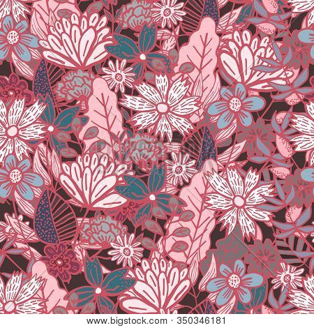 Magic Dark Red Doodle Floral Seamless Pattern With Mess Of Colorful Flowers And Leaves. Childish Tex